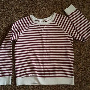 Maroon and Cream striped crewneck
